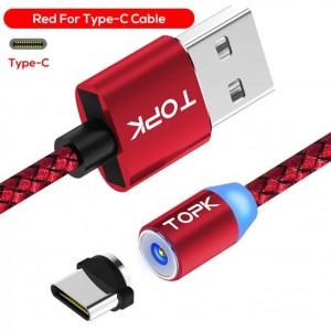 Магнитный Type C кабель для зарядки - Topk, красный