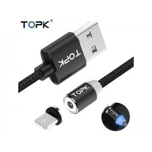 Магнитный кабель Lightning (на Iphone) для зарядки Topk, черный
