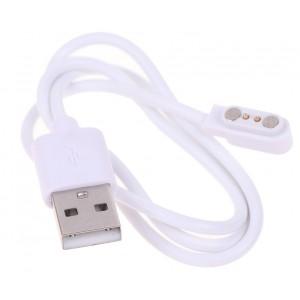 Магнітний USB кабель зарядки для розумних годинників 2 конектори, 2.84 mm., білий