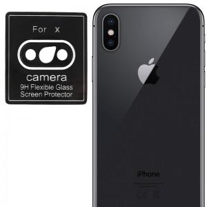 Гибкое защитное стекло 0.18mm на камеру для iPhone X / XS/ XS Max (Черный) (тех.пак)