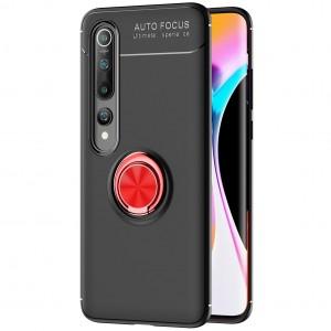 TPU чехол для Xiaomi Mi 10 / Mi 10 Pro - Deen ColorRing под магнитный держатель (opp) (Черный / Красный)