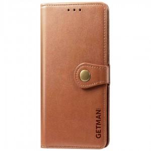 Кожаный чехол книжка для Samsung Galaxy M31 - GETMAN Gallant (PU) (Коричневый)