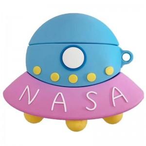 Силиконовый футляр Nasa для наушников AirPods + карабин (НЛО / Голубо-розовый