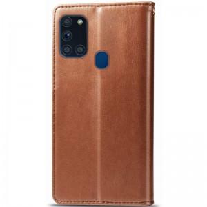 Кожаный чехол книжка для Samsung Galaxy A21s - GETMAN Gallant (PU) (Коричневый)