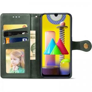 Кожаный чехол книжка для Samsung Galaxy M31 - GETMAN Gallant (PU) (Зеленый)