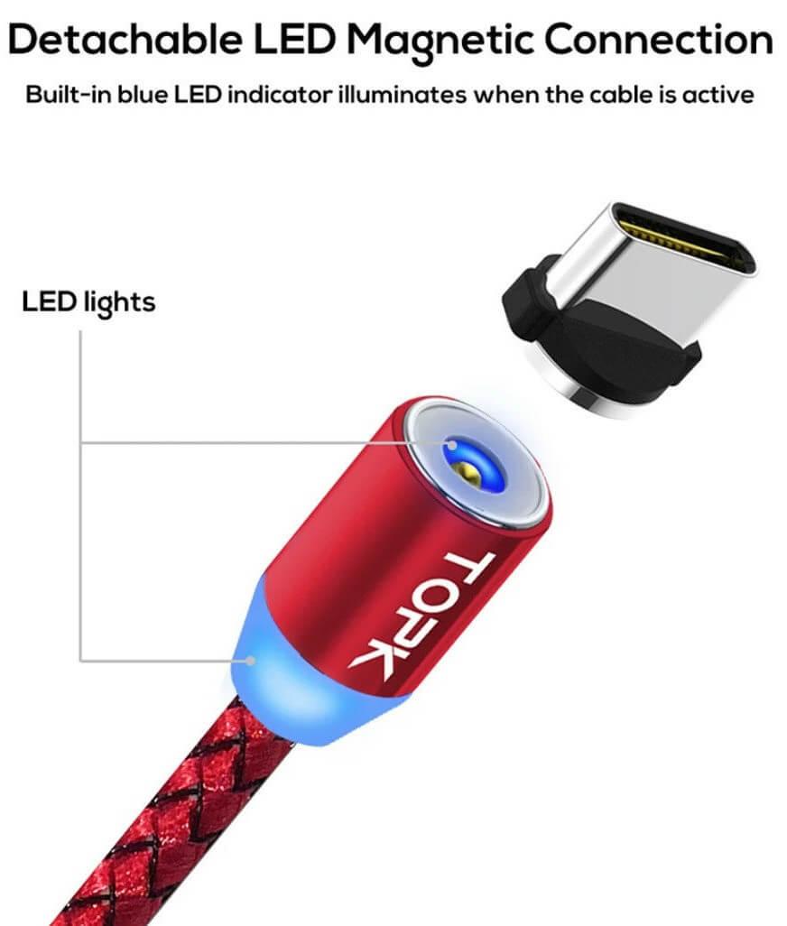 магнитный usb кабель type C, красный