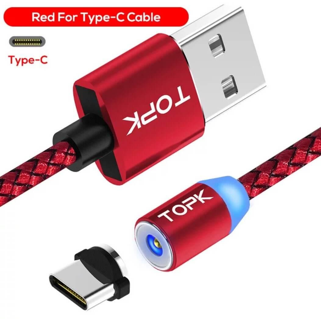 Магнитный кабель type C, красный