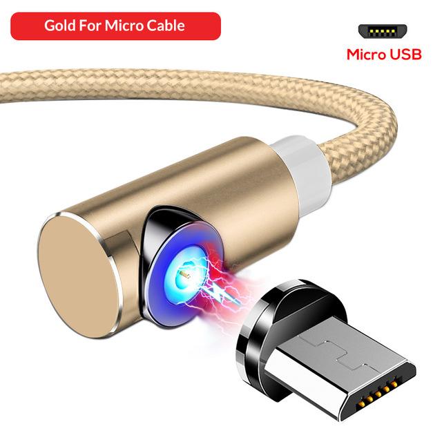 Золотой угловой магнитный кабель Micro USB TOPK