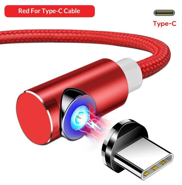 Красный угловой магнитный кабель Type C TOPK